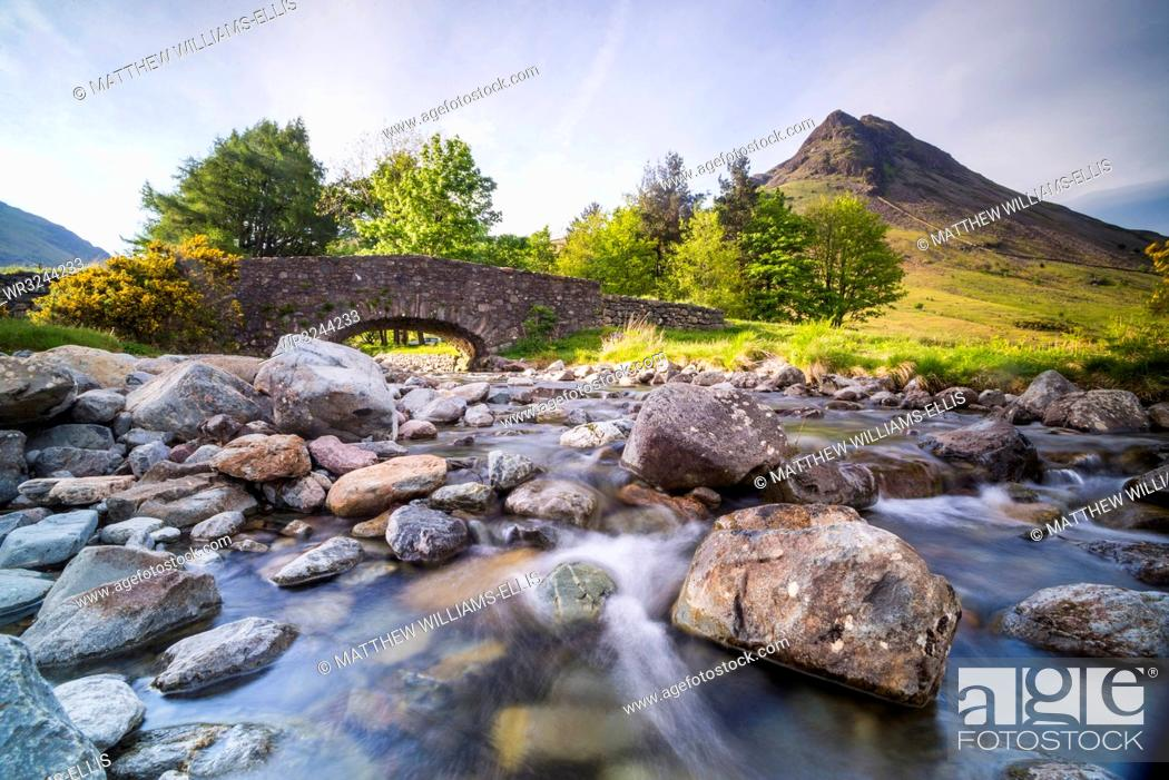 Stock Photo: Old bridge by Wastwater (Wast Water) in the Wasdale Valley, Lake District National Park, UNESCO World Heritage Site, Cumbria, England, United Kingdom, Europe.