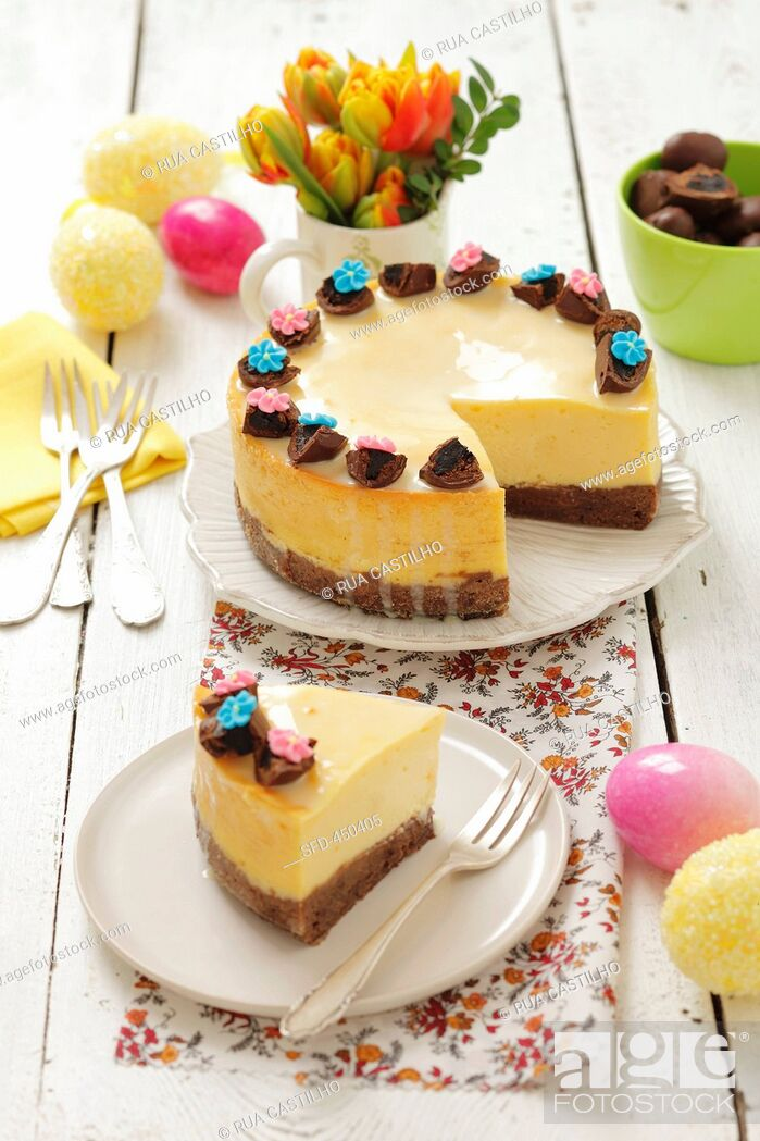 Stock Photo: Cheese cake with chocolate-covered plums for Easter.