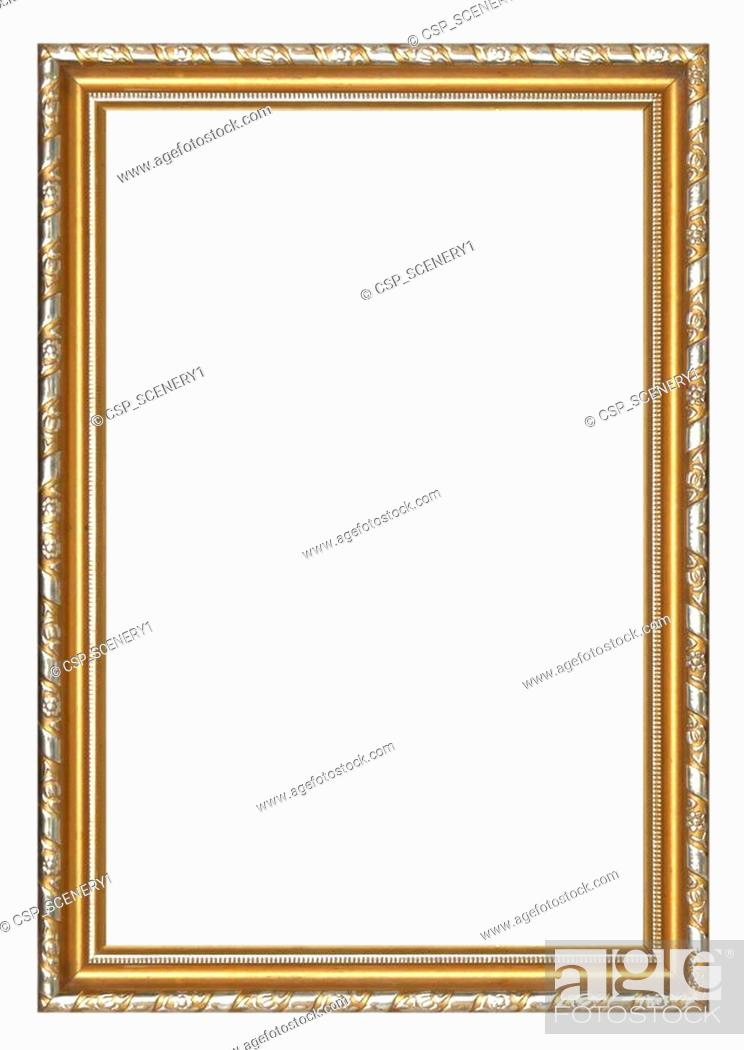 Stock Photo: Picture frame gold wood frame.