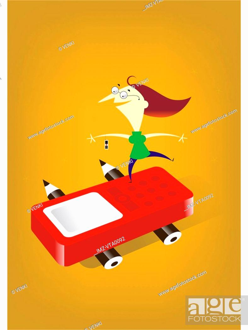 Stock Photo: A woman balancing on top of a car shaped like a cell phone.