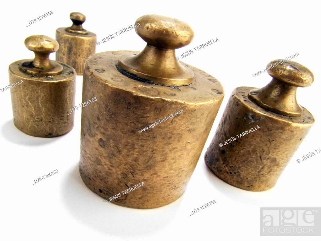 Stock Photo: Still life of old measuring weights.