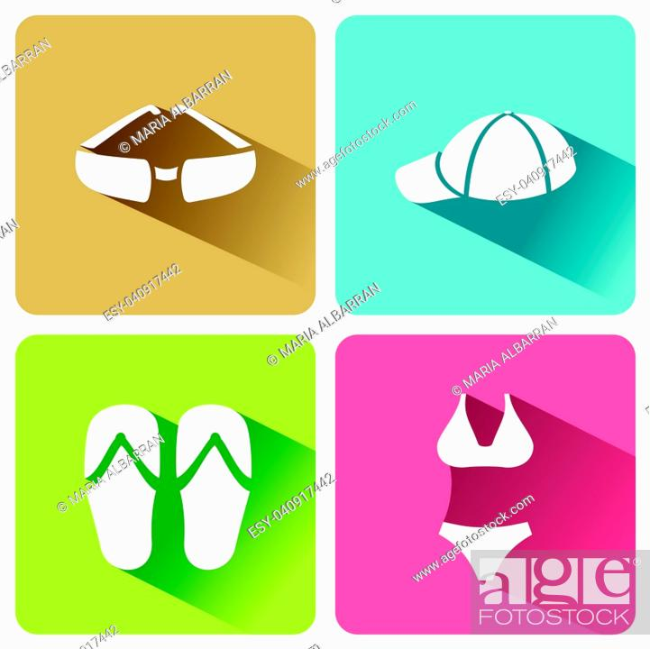 Stock Vector: Summer clothes icons with shadow on a white background. Vector illustracion.