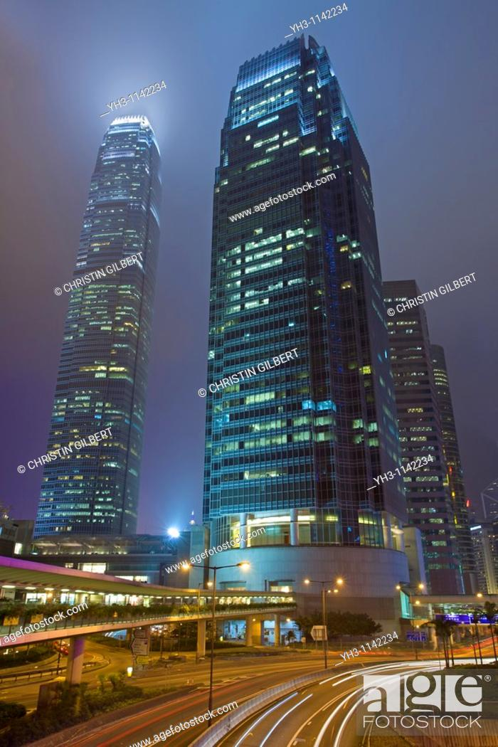 Stock Photo: Hong Kong cityscape at night.