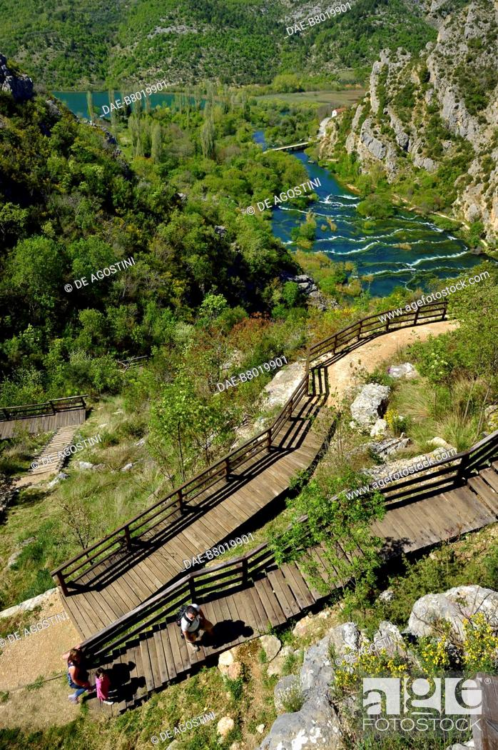 Stock Photo: Walkway leading to the viewpoint over Roski Slap, Krka Waterfalls, Krka National Park, Croatia.
