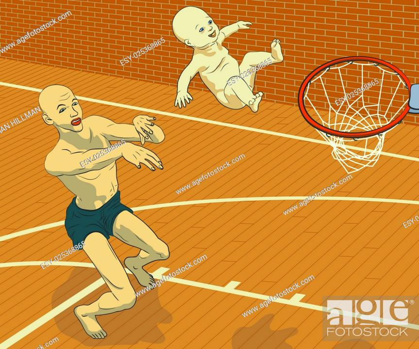 Stock Vector: Concept illustration of a man trying to achieve his goals through his child by throwing his smiling baby at a basketball hoop.