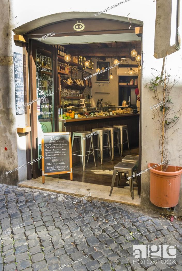 Stock Photo: roman sandwich bar in the historic city center, rome, lazio, italy.
