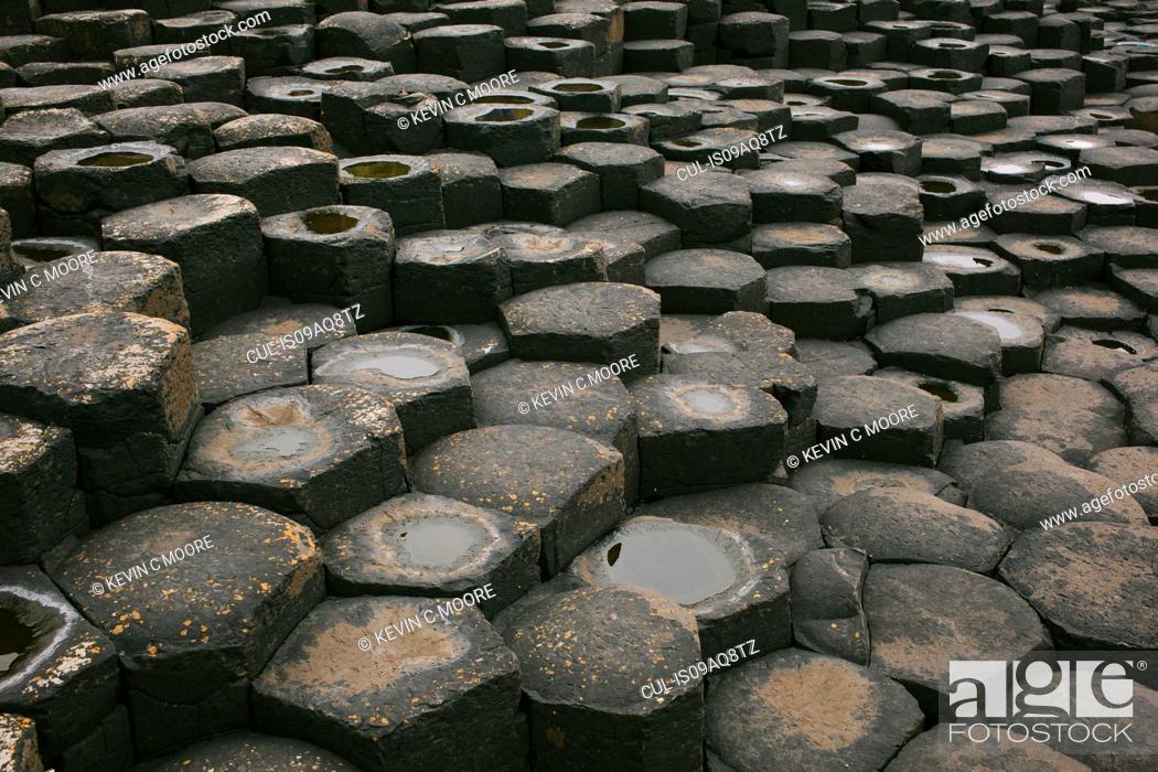 Stock Photo: Giant's Causeway, Bushmills, County Antrim, Northern Ireland.
