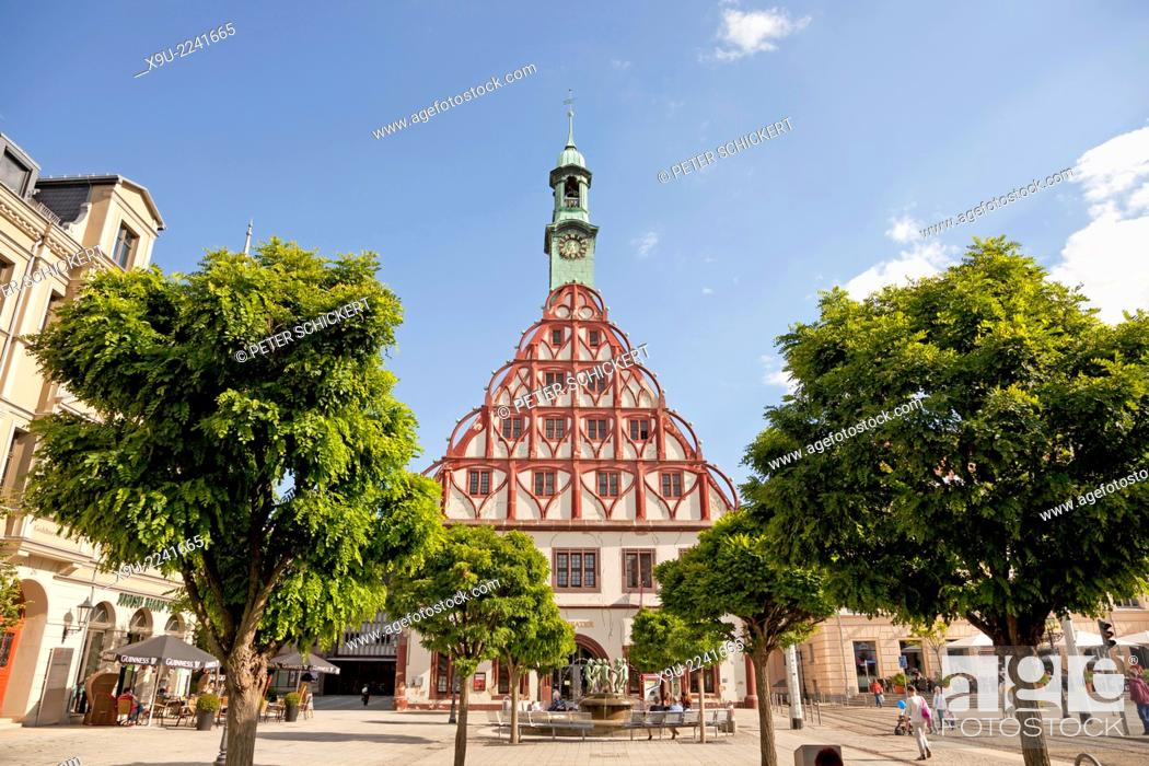 Stock Photo: theatre Gewandhaus on the main market in Zwickau, Saxony, Germany, Europe.