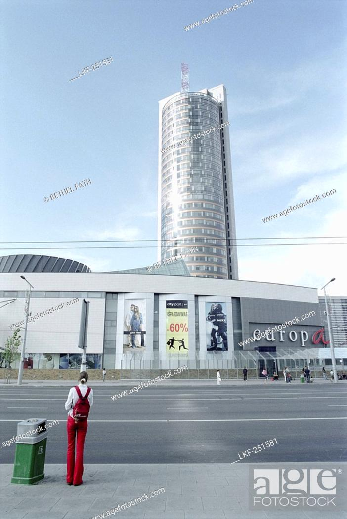f0f099298 Europa Shopping Center, skyscaper, Vilnius, Lithuania, Stock Photo ...
