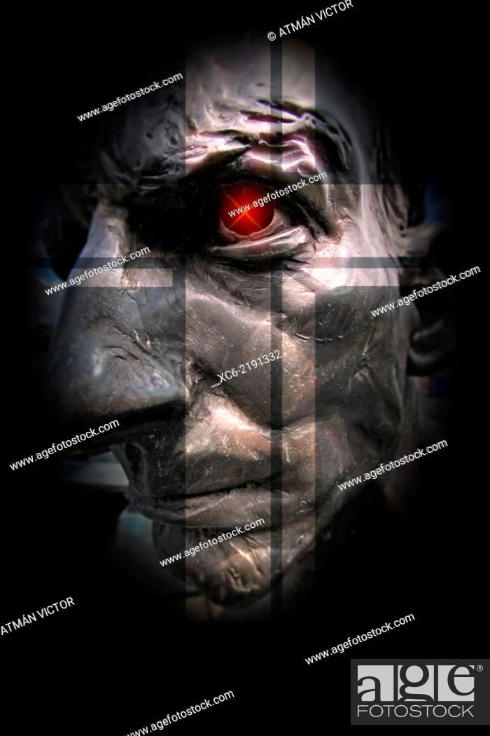 Stock Photo: statue of an old man's face in the dark.