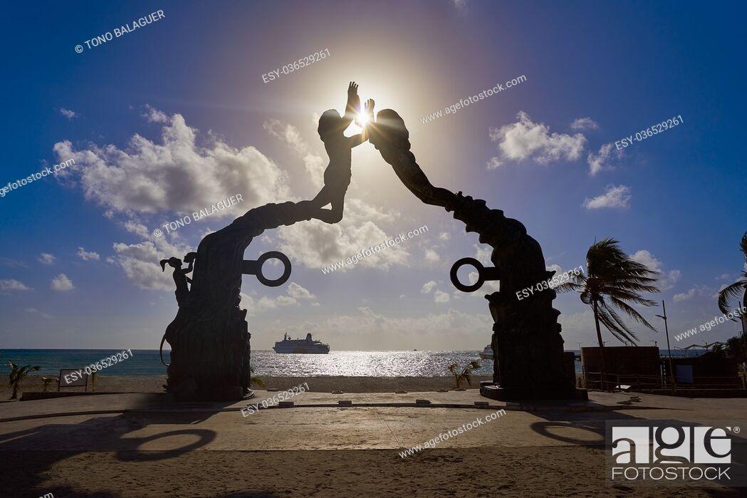 Stock Photo: Playa del Carmen Portal Maya sculpture in Mexico Mayan riviera.