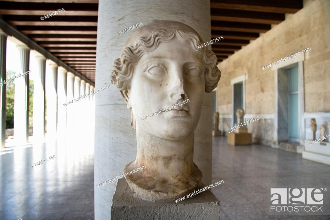 Stock Photo: Woman's Bust, Stoa of Attalos, the museum of Ancient Agora, Athens, Greece.
