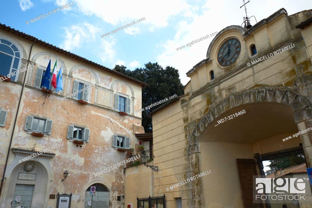 Stock Photo: Town Hall Palace and Arch with Ancient Clock, Anguillara Sabazia, Lazio, Italy.