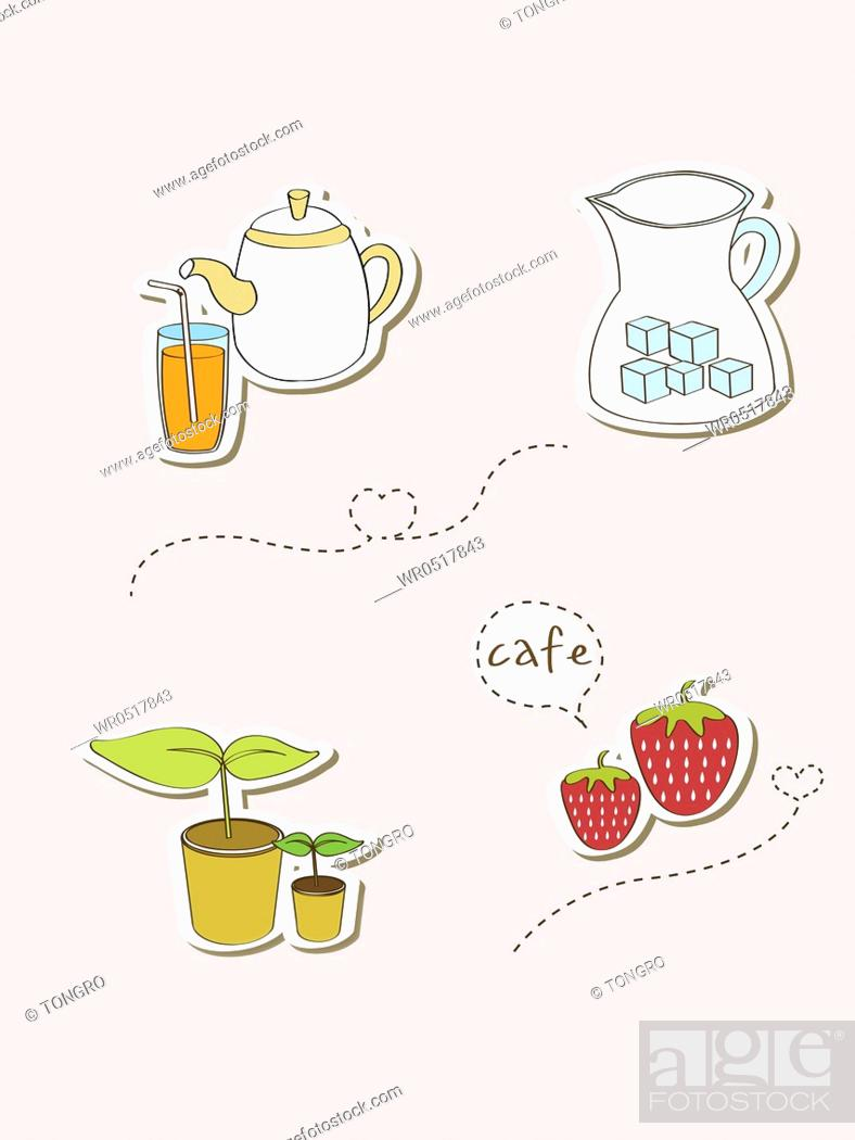 Stock Photo: Various types of icons for cafe and desserts.
