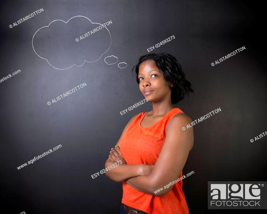 Photo de stock: South African or African American woman teacher or student thinking with thought clouds.