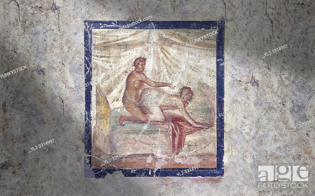 Imagen: Roman Erotic Fresco from Pompeii depicting sexual activities, Naples National Archaeological Museum - from a private house venereum, 50-79 AD , , inv no 27696.