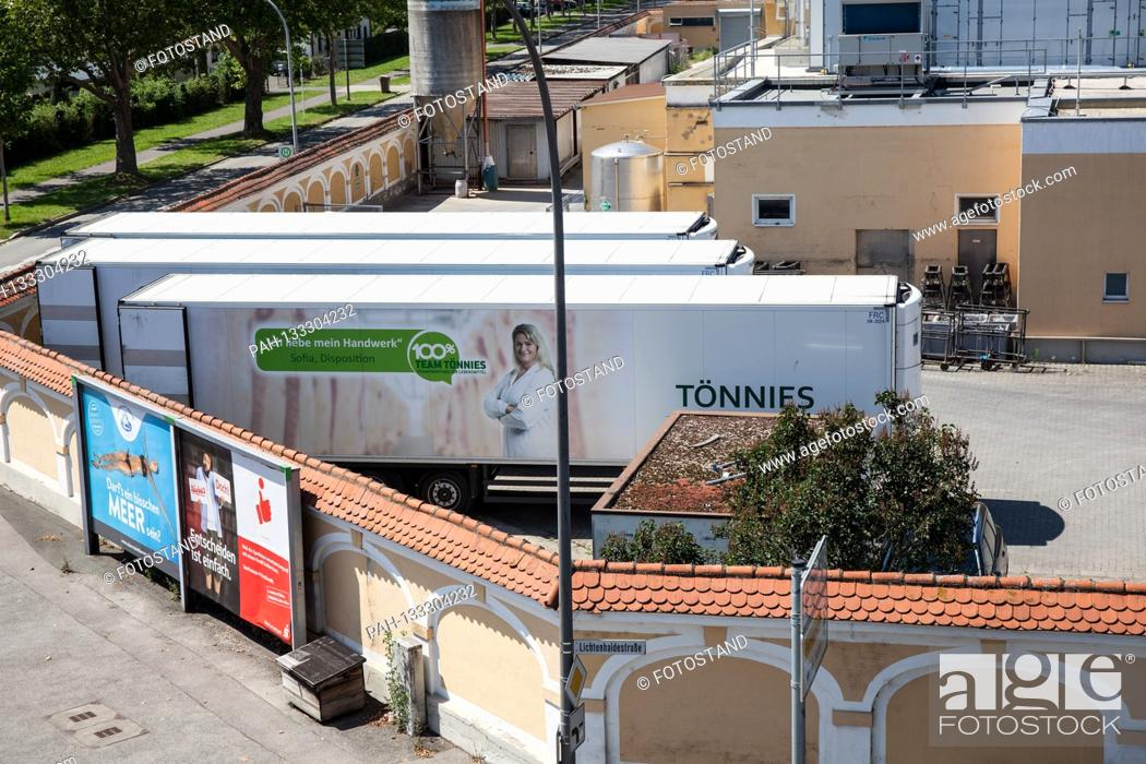 Stock Photo: Bamberg, Germany June 23, 2020: Symbolic images - Coronavirus - 06/23/2020 Toennies trailer is in the Schlaughshof Bamberg, with advertising.