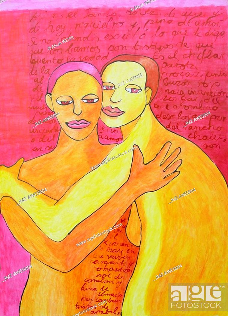 Stock Photo: A drawing of two sisters hugging.