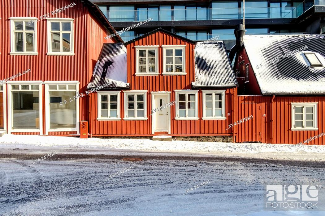 Stock Photo: Coloured facade buildings at Reykjavik old town city in winter, Iceland.