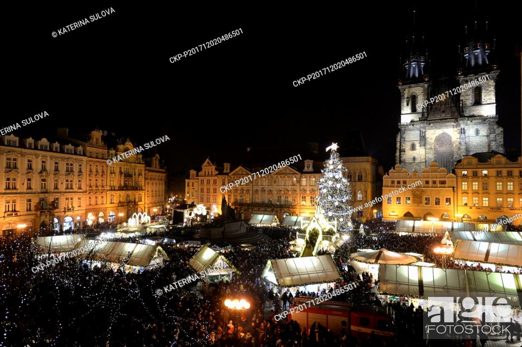 Stock Photo: The Prague Christmas tree was lit in the historical Old Town Square in Prague's centre in a ceremony attended by Prague Mayor Adriana Krnacova and watched by.