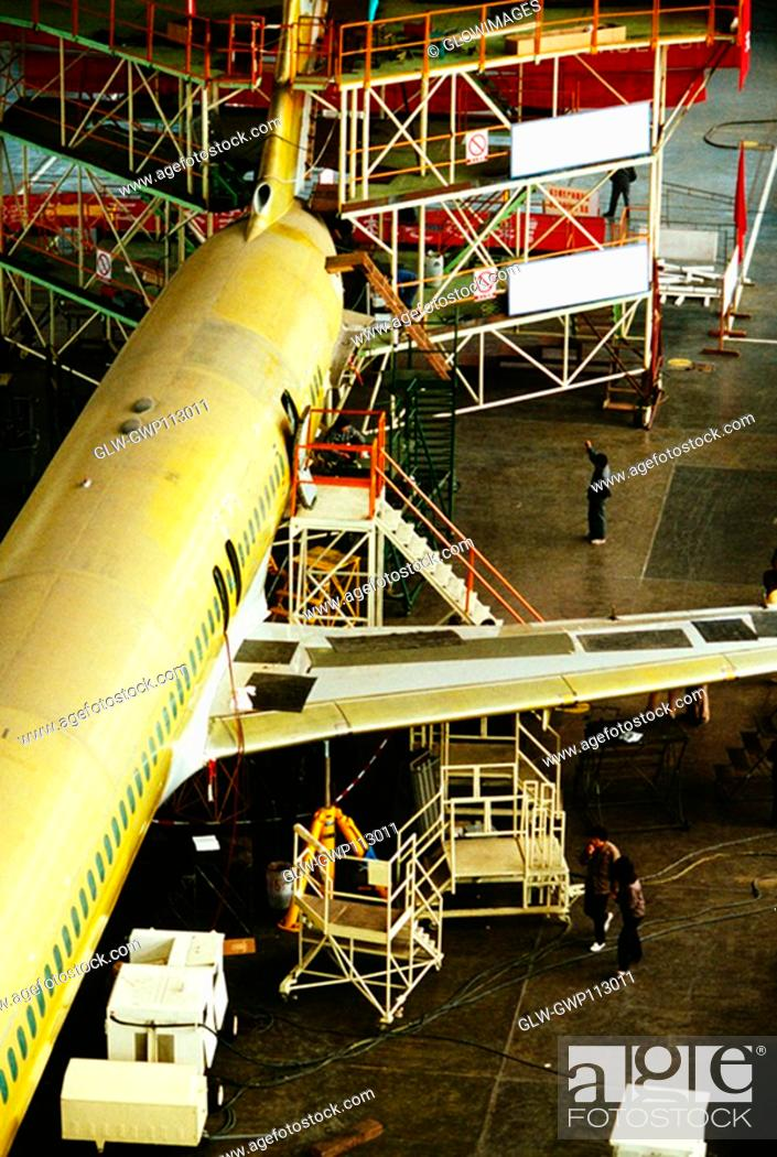 Stock Photo: High angle view of an airplane in an airplane factory, Shanghai, China.