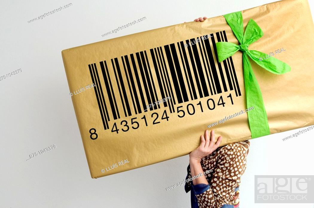 Stock Photo: Barcode, gift, concept.
