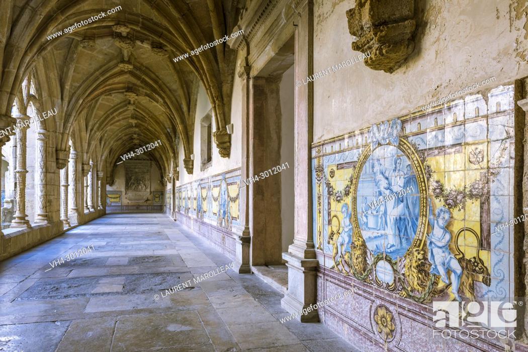 Stock Photo: Ribbed Vaults and Azulejos in the Silence Cloister of Santa Cruz Monastery, Sofia Area, Coimbra, Baixo Mondego, Centro Region, Portugal, Europe.