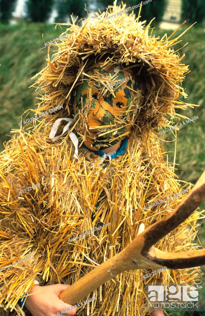 Stock Photo: Character from 'La Vijanera' carnival in Silio. Cantrabria .Spain.