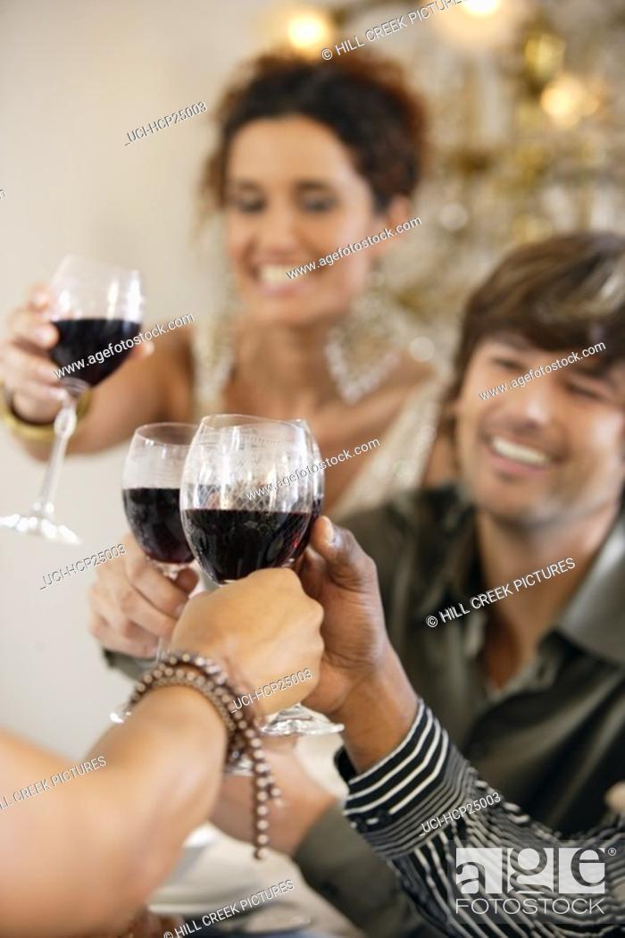 Stock Photo: People toasting each other.