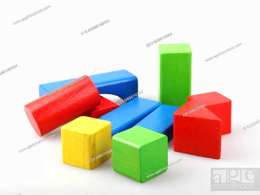 Stock Photo: Studio Shot Of Colorful Toy Blocks Against White Background.