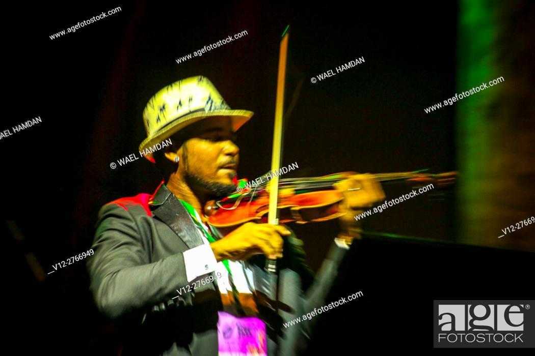 Stock Photo: Violinist on stage.