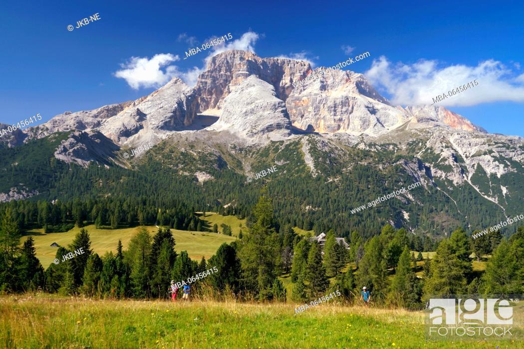 Stock Photo: Europe, Italy, South Tirol, Pragser Dolomiten / Dolomiti di Braies (mountains), Plätzwiese, Hohe Gaisl, (mountain), 3146 m.