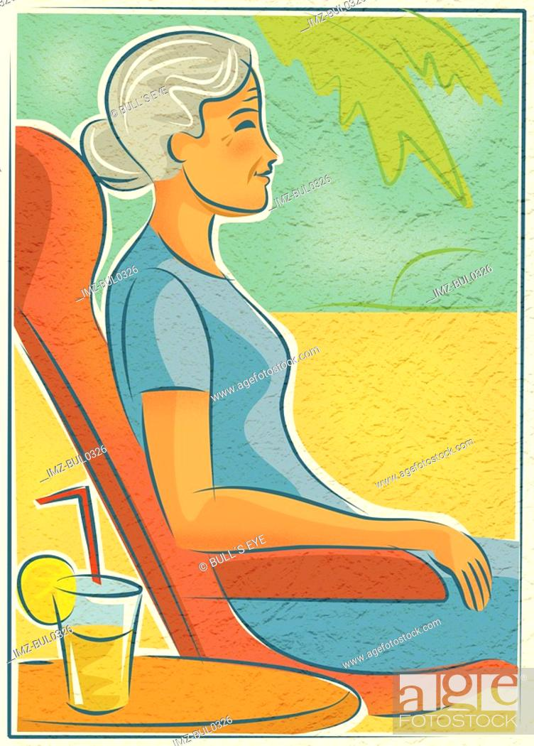 Stock Photo: An elderly woman relaxing in a chair outdoors with a drink.