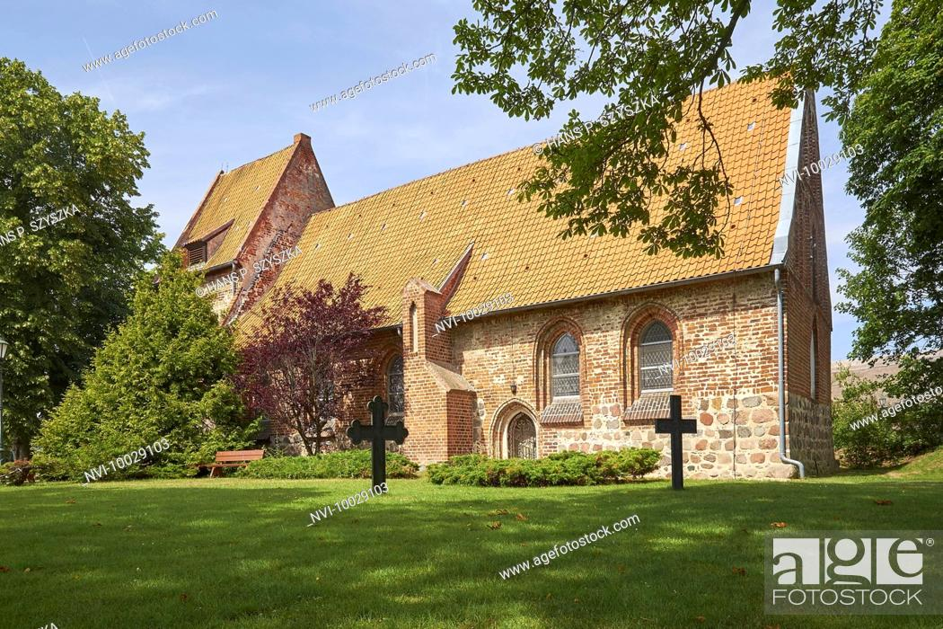 Stock Photo: Village church of Mellenthin, Usedom, Mecklenburg-Western Pomerania, Germany.