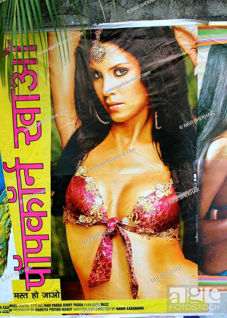 Stock Photo: Bollywood's adult film poster popcorn khao mast ho jao , Bombay Mumbai , Maharashtra , India.