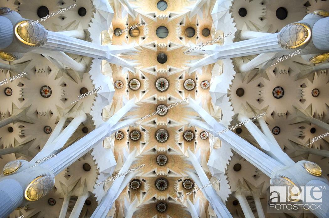 Stock Photo: Low angle interior view of vaulting, Sagrada Familia, Barcelona, Catalonia, Spain.