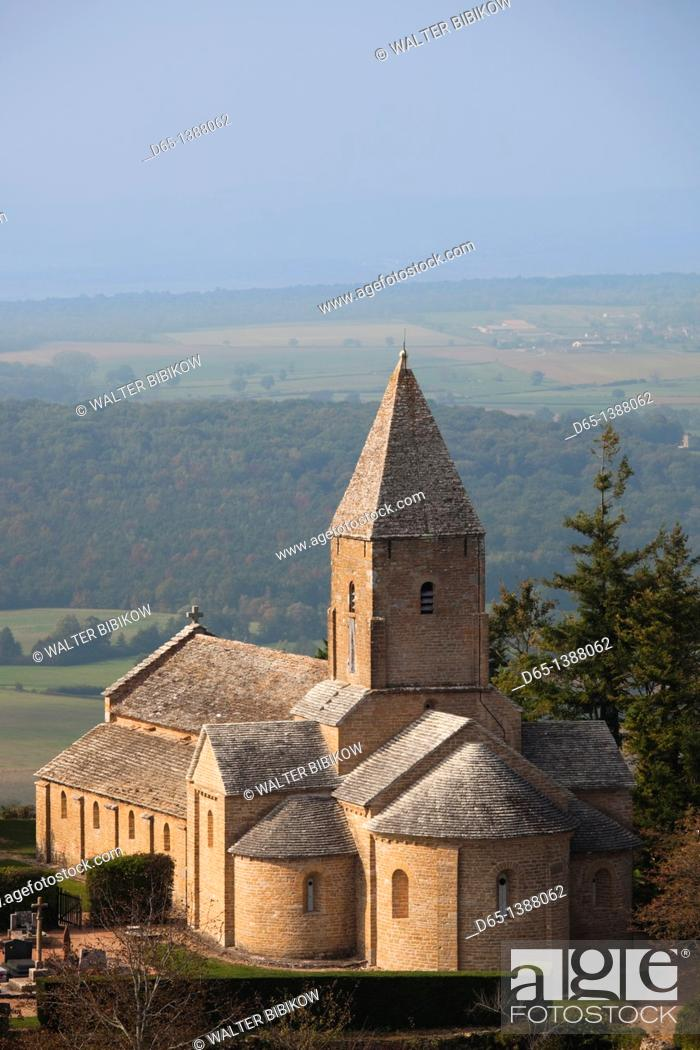 Stock Photo: France, Saone-et-Loire Department, Burgundy Region, Maconnais Area, Brancion, Eglise St-Pierre church.