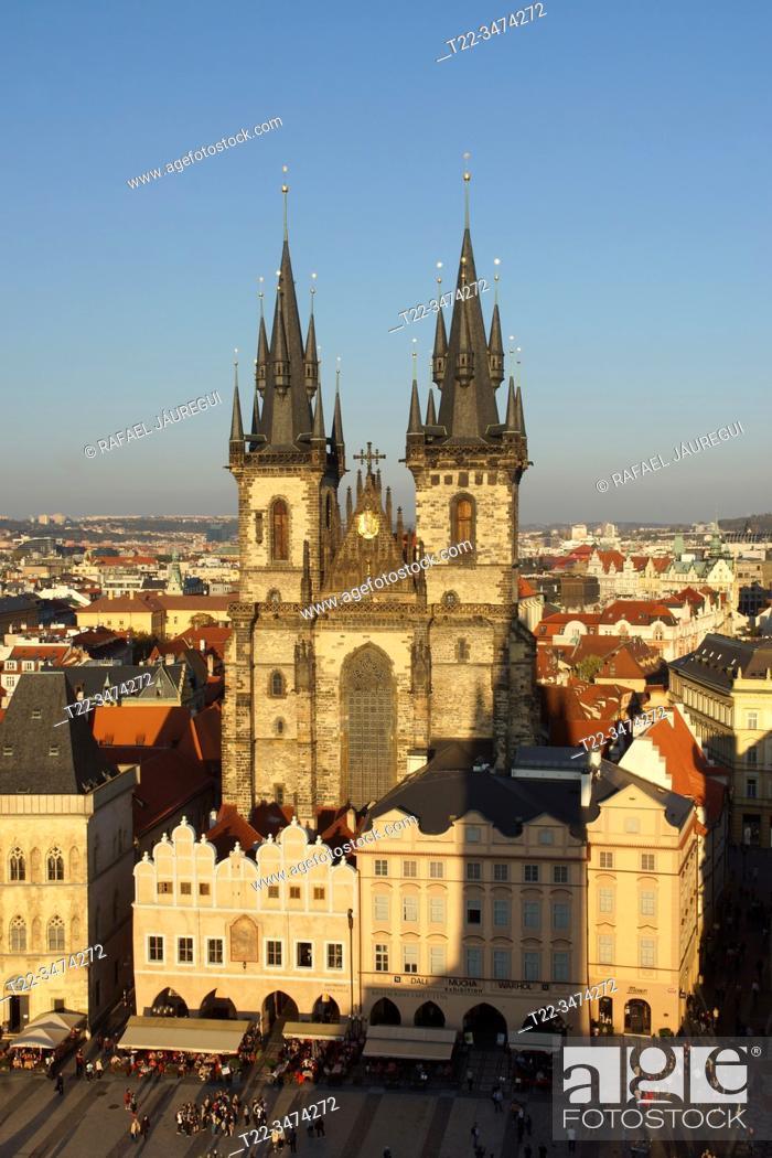 Stock Photo: Prague (Czech Republic). Church of Týn. (Chrám Matky Boží pŠ. ed Týnem) in Old Town Square (StaromÄ›stské námÄ›stí) of the city of Prague.