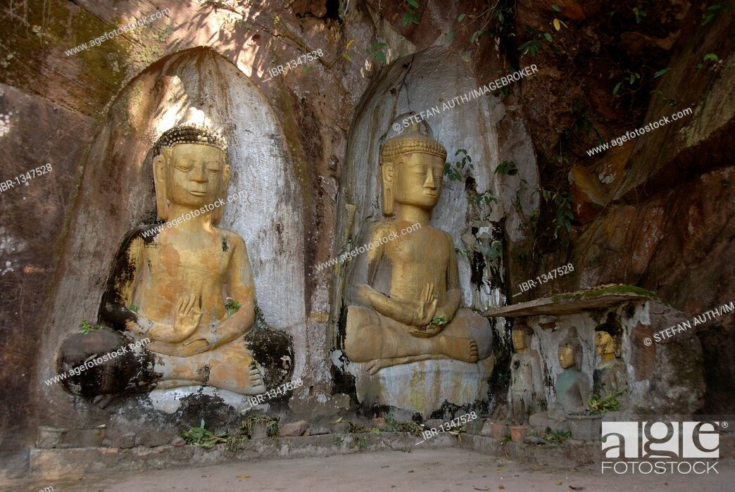 Imagen: Theravada Buddhism, archeology, ancient golden Buddha figures, relief in rock, Xang Vang, at Ban Phone Savang, Vientiane Province, Laos, Southeast Asia, Asia.