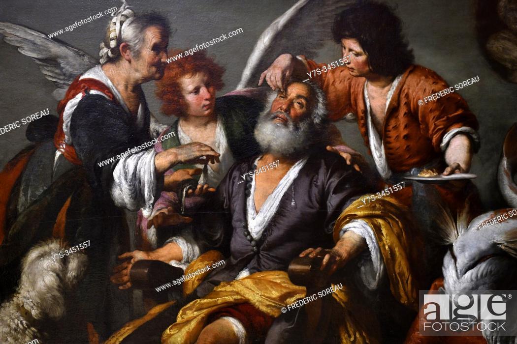 Stock Photo: Tobias healing his father, by Bernardo Strozzi, Hermitage museum, St Petersburg Russia, Europe.