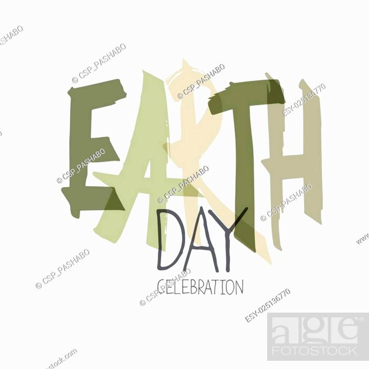 Stock Vector: Handwritten Earth Day Calebration Typography. Minimalistic logo for celebration. On white background.