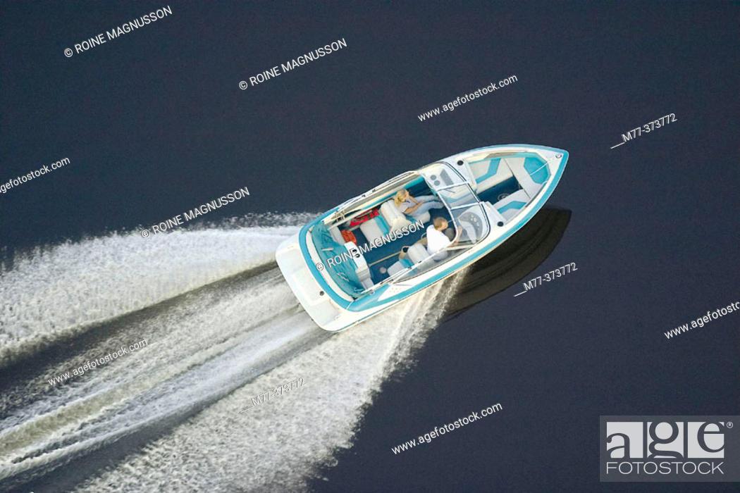 Stock Photo: Speed boat in lake. Fryken. Sunne. Värmland. Sweden.