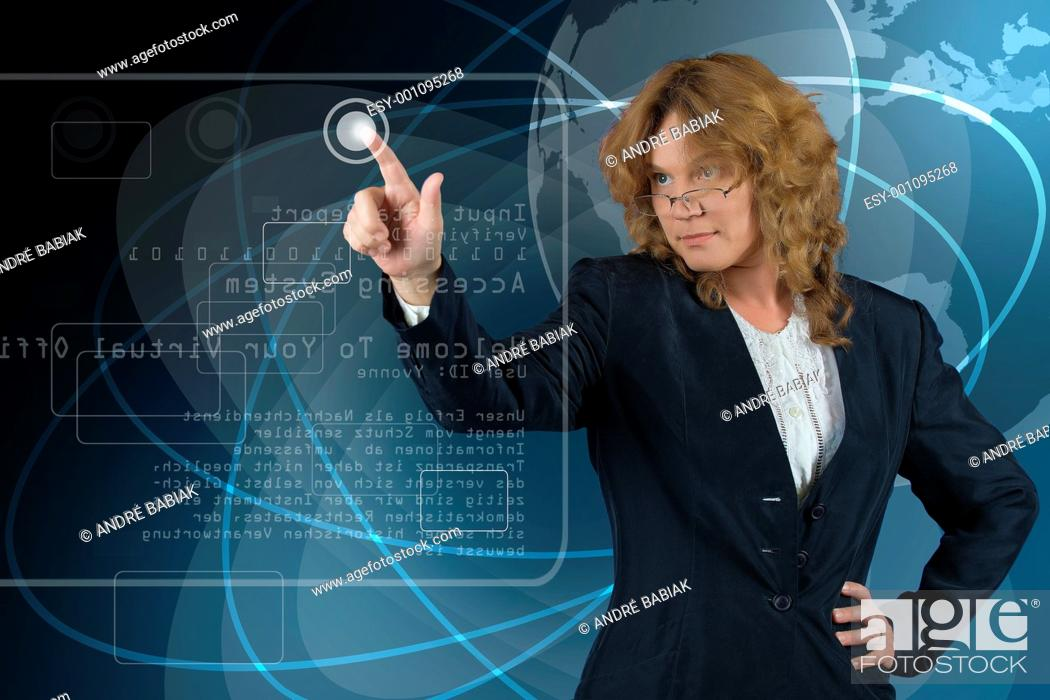 Stock Photo: Futuristic office - woman operating virtual screen.
