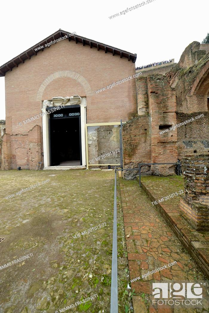 Stock Photo: Public opening of the Ramp Imperial Domitian in the Roman Forum, monumental entrance to Imperial buildings. Discovered by Giacomo Boni in the1900 after the.