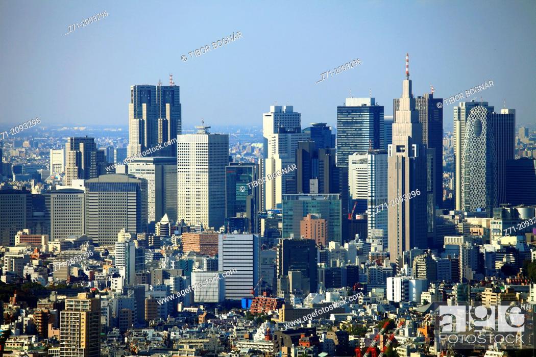 Stock Photo: Japan, Tokyo, Shinjuku, skyline, general aerial view, .