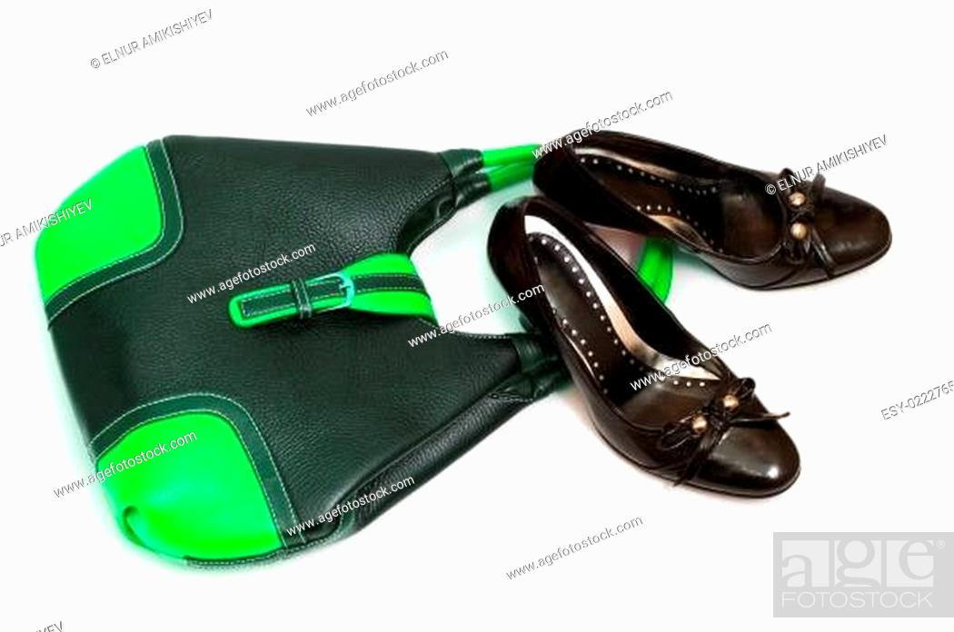 Stock Photo: Bag and shoes isolated on the white.