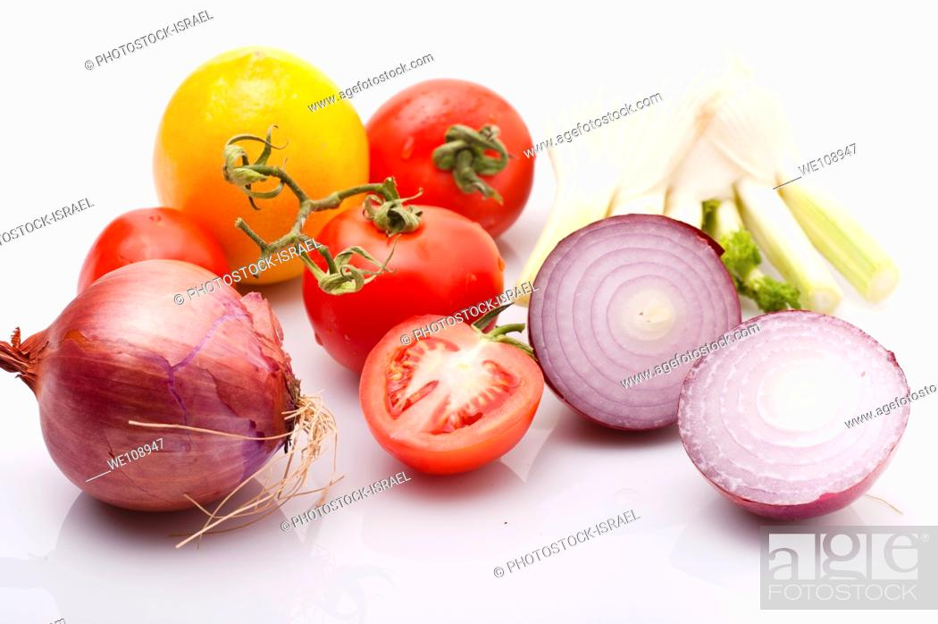 Stock Photo: Cut and whole Purple red onion with tomatoes and fennel bulbs on white Background.