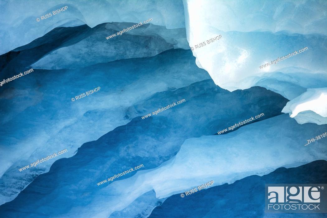 Stock Photo: Blue ice detail on the Athabasca Glacier, Jasper National Park, Alberta, Canada.