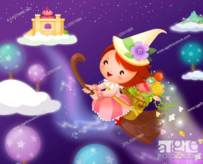Stock Photo: Girl flying on a broom and carrying flowers in a basket.