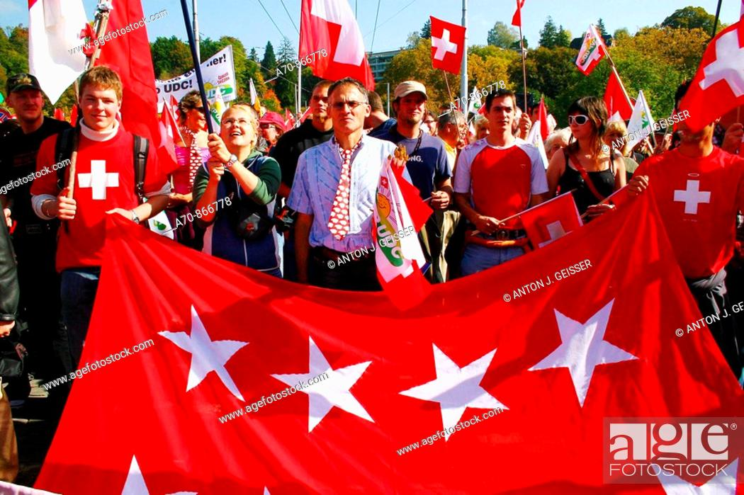 Stock Photo: SVP demonstration in Bern before October 21 parliamentary election, Switzerland (october 6, 2006).